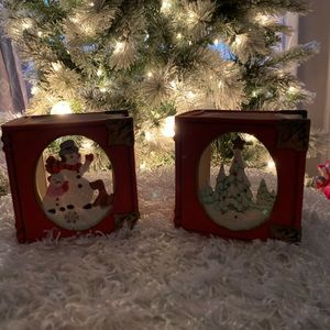 Partylite Retired Holiday Book Tealight Holders